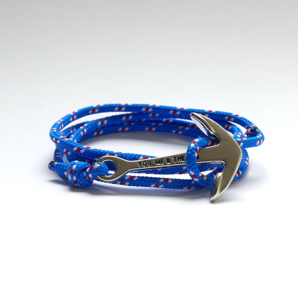 Nautical Rope Bracelet Anchor Silver Royal Blue White Red