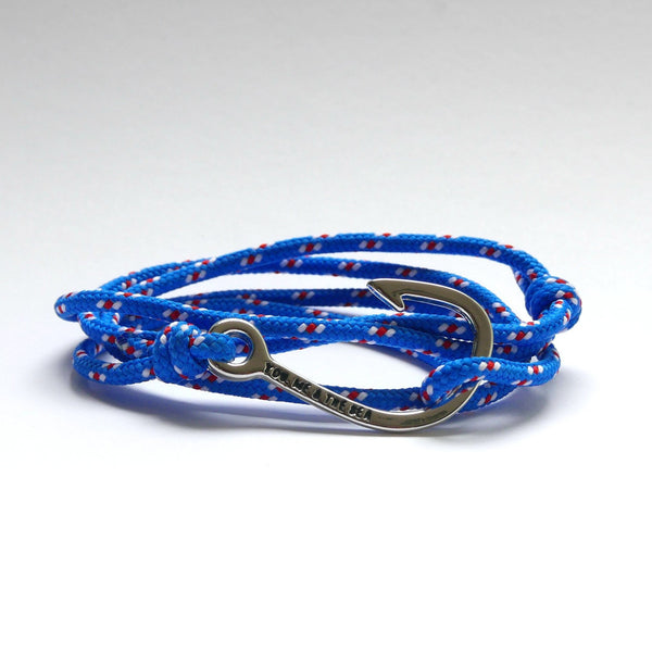Nautical Rope Bracelet Hook chrome Royal Blue White Red