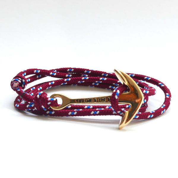 Nautical Rope Bracelet Anchor Gold Burgundy White Royal Blue