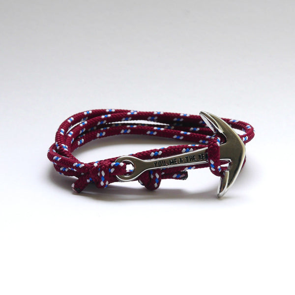Nautical Rope Bracelet Anchor Silver Burgundy Royal White