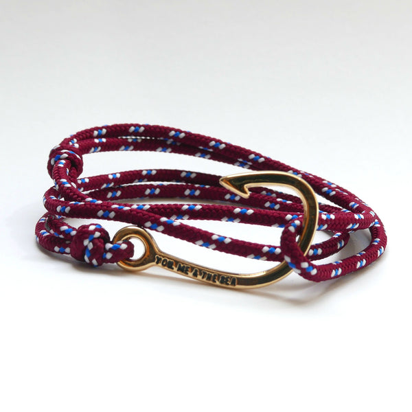 Nautical Rope Bracelet Hook Gold Burgundy White Royal Blue