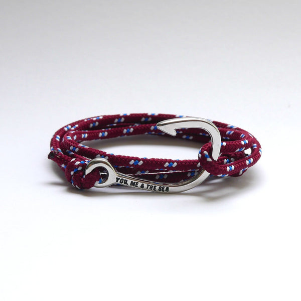 Nautical Rope Bracelet Hook chrome Burgundy Royal White