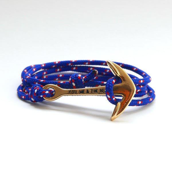 Nautical Rope Bracelet Anchor Gold Deep Blue Red White