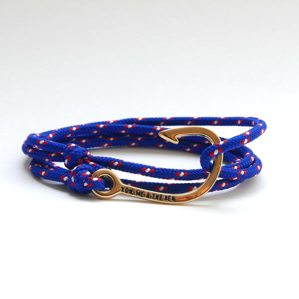 Nautical Rope Bracelet Hook Gold Deep Blue Red White