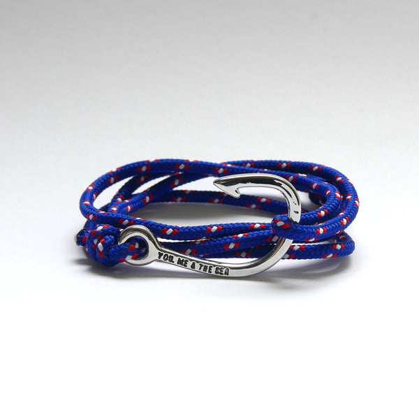 Nautical Rope Bracelet Hook Silver Deep Blue Red White Dot