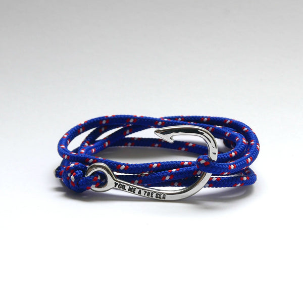 Nautical Rope Bracelet Hook chrome Deep Blue Red White Dot