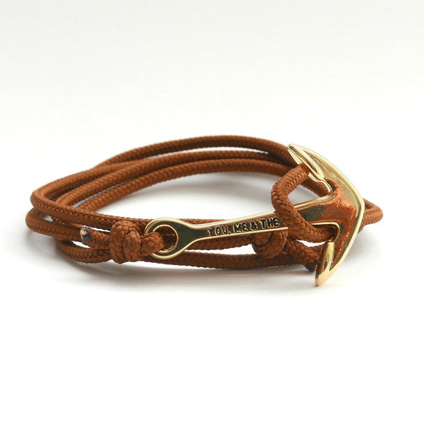 Nautical Rope Bracelet Anchor Gold Brown