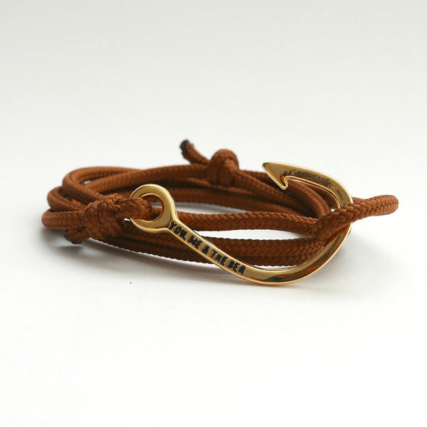 Nautical Rope Bracelet Hook Gold Brown