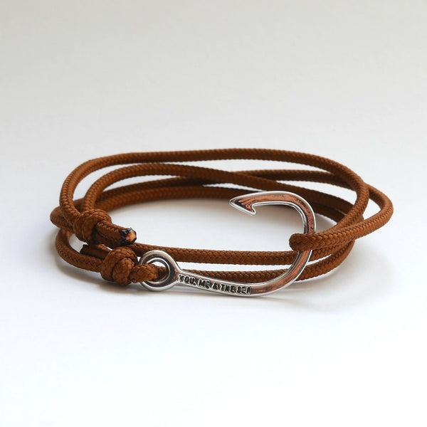 Nautical Rope Bracelet Hook Silver Brown