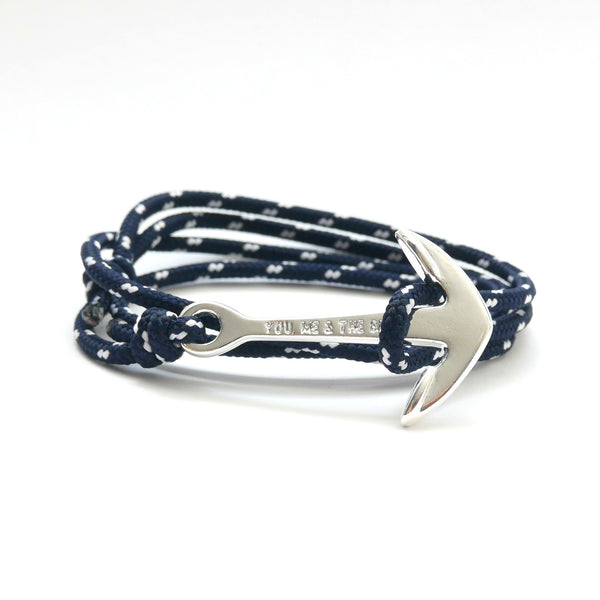 Nautical Rope Bracelet Anchor chrome Navy 2 White