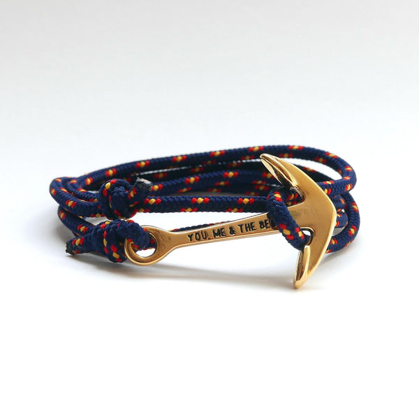 Nautical Rope Bracelet Anchor Gold Navy Spain
