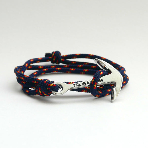 Nautical Rope Bracelet Anchor chrome Navy Spain