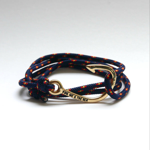 Nautical Rope Bracelet Hook Gold Navy Spain.