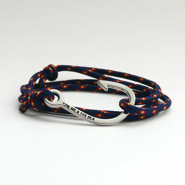 Nautical Rope Bracelet Hook chrome Navy Spain