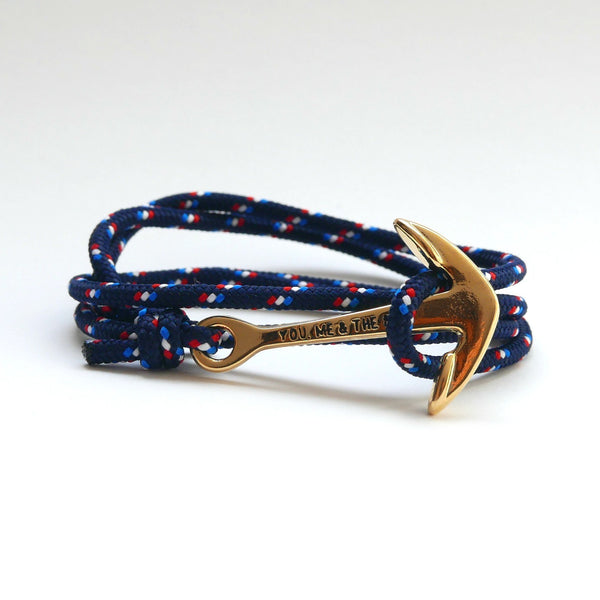 Nautical Rope Bracelet Anchor Gold Navy France