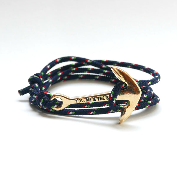 Nautical Rope Bracelet Anchor Gold Navy Italy