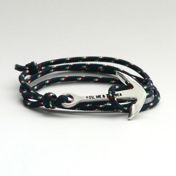 Nautical Rope Bracelet Anchor chrome Navy Italy