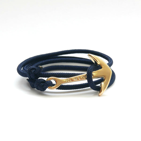 Nautical Rope Bracelet Anchor Gold Plated Navy