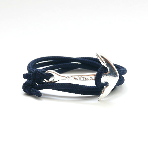 Nautical Rope Bracelet Anchor silver plated Navy