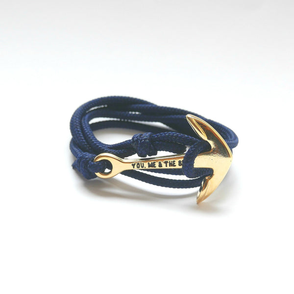 Nautical Rope Bracelet Anchor Gold Navy