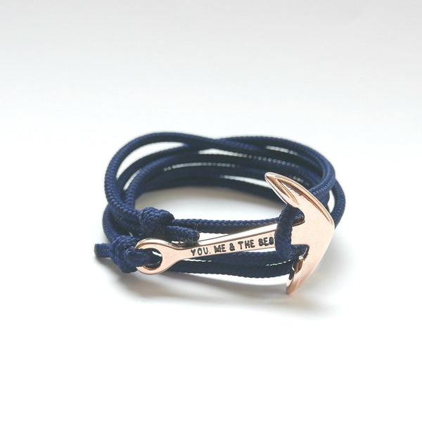 Nautical Rope Bracelet Anchor Rose Gold Navy