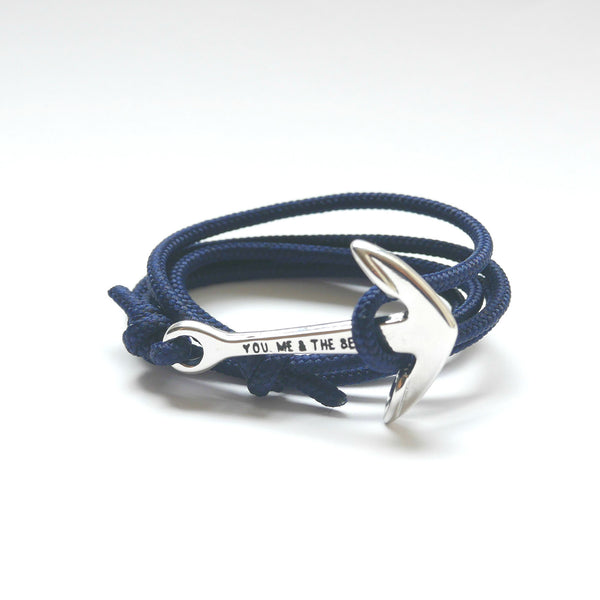 Nautical Rope Bracelet Anchor Silver Navy