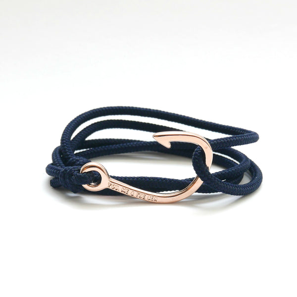 Nautical Rope Bracelet Hook Rose Gold Plated Navy