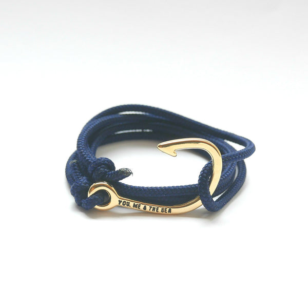Nautical Rope Bracelet Hook Gold Navy