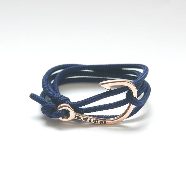 Nautical Rope Bracelet Hook Rose Gold Navy