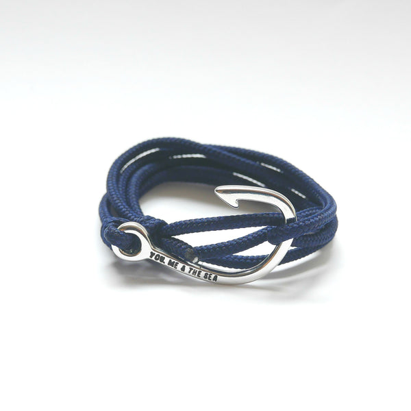 Nautical Rope Bracelet Hook Silver Navy