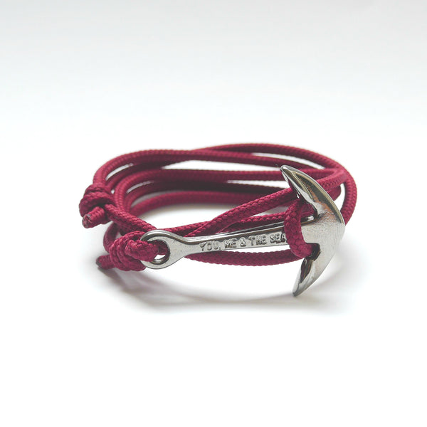 Nautical Rope Bracelet Anchor Black Burgundy