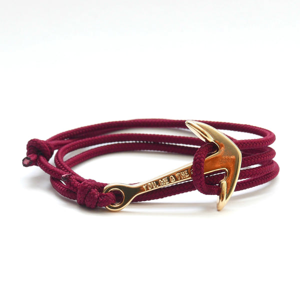 Nautical Rope Bracelet Anchor Gold Plated Burgundy