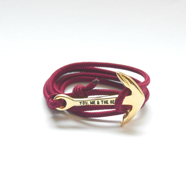 Nautical Rope Bracelet Anchor Gold Burgundy