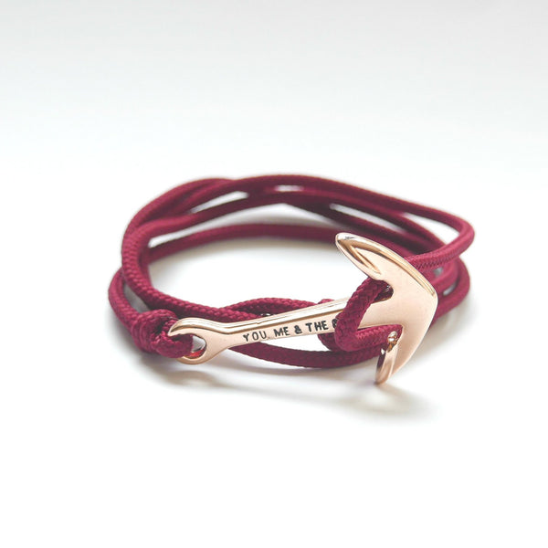 Nautical Rope Bracelet Anchor Rose Gold Burgundy