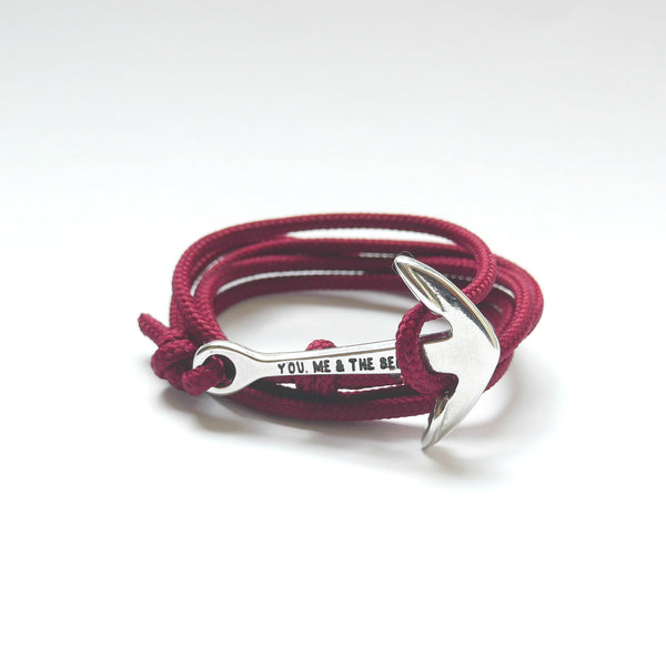 Nautical Rope Bracelet Anchor Silver Burgundy