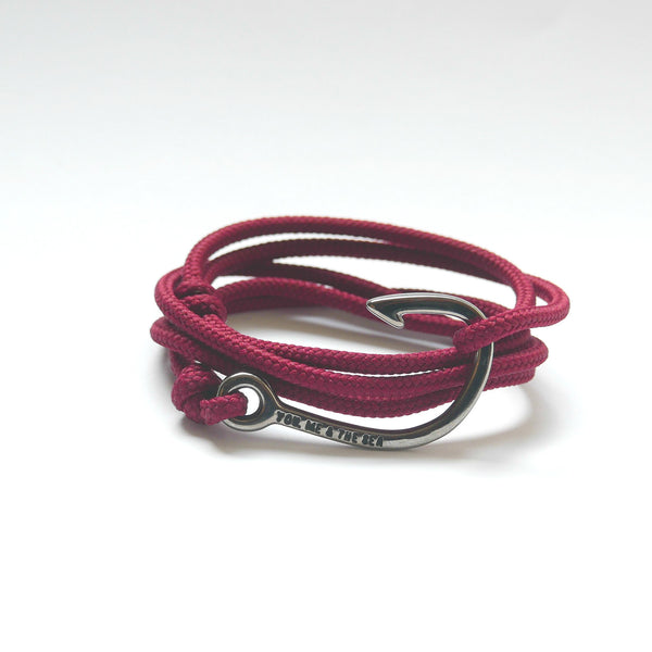 Nautical Rope Bracelet Hook Black Burgundy