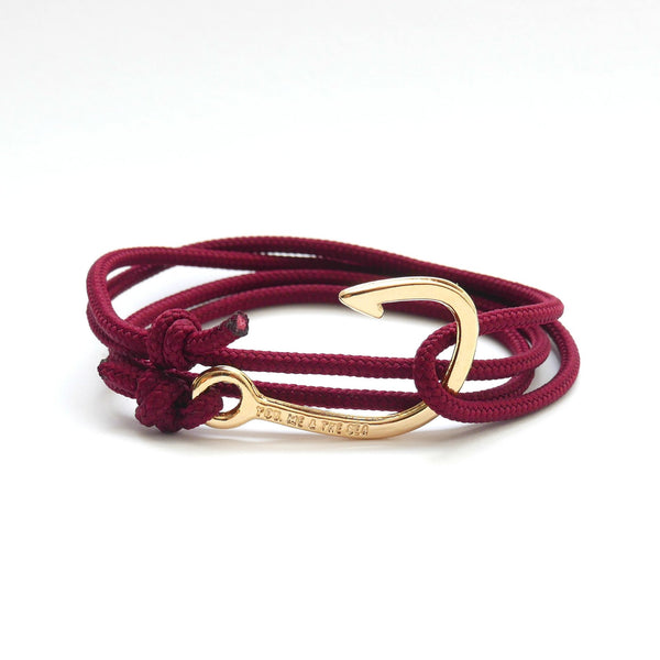 Nautical Rope Bracelet Hook Gold Plated Burgundy