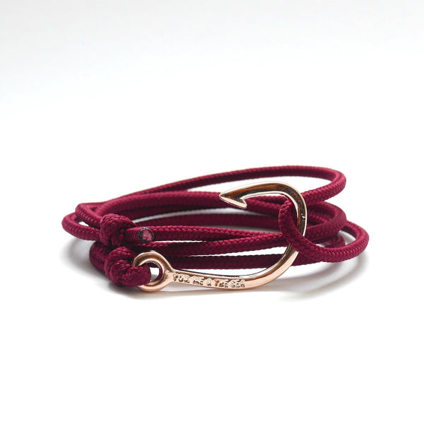 Nautical Rope Bracelet Hook Rose Gold Plated Burgundy