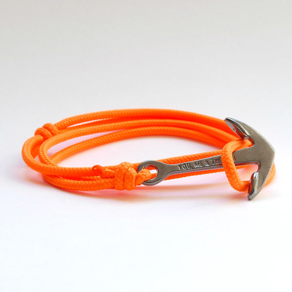 Nautical Rope Bracelet Anchor Black Fluor Orange
