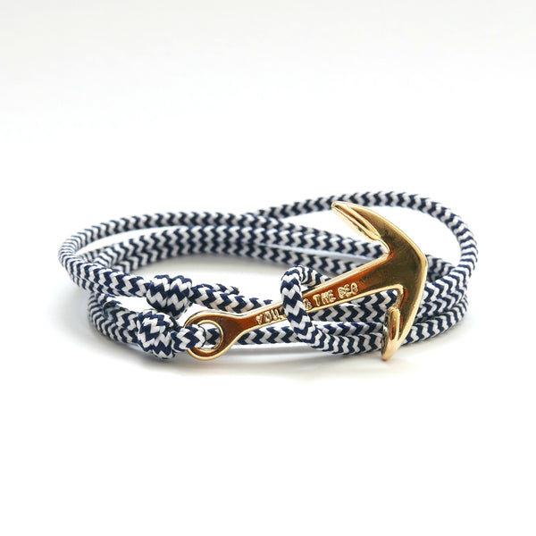 Nautical Rope Bracelet Anchor Gold Plated White Navy