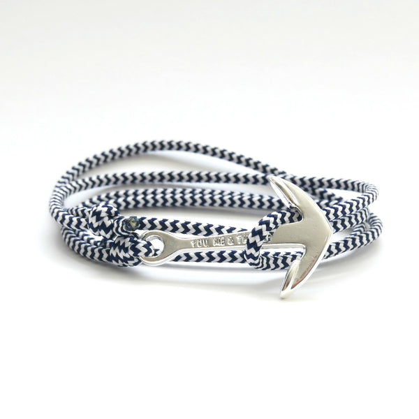 Nautical Rope Bracelet Anchor silver plated White Navy