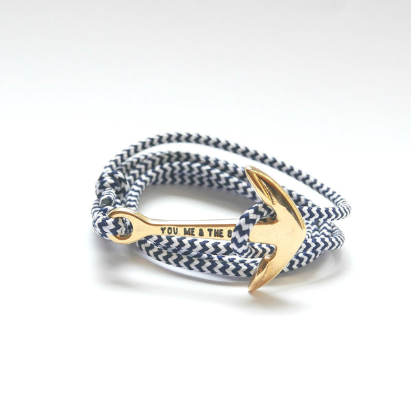Nautical Rope Bracelet Anchor Gold White Navy