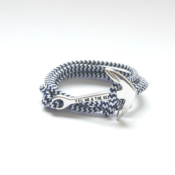 Nautical Rope Bracelet Anchor Silver White Navy
