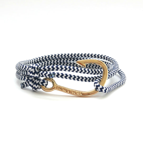 Nautical Rope Bracelet Hook Gold Plated Navy White