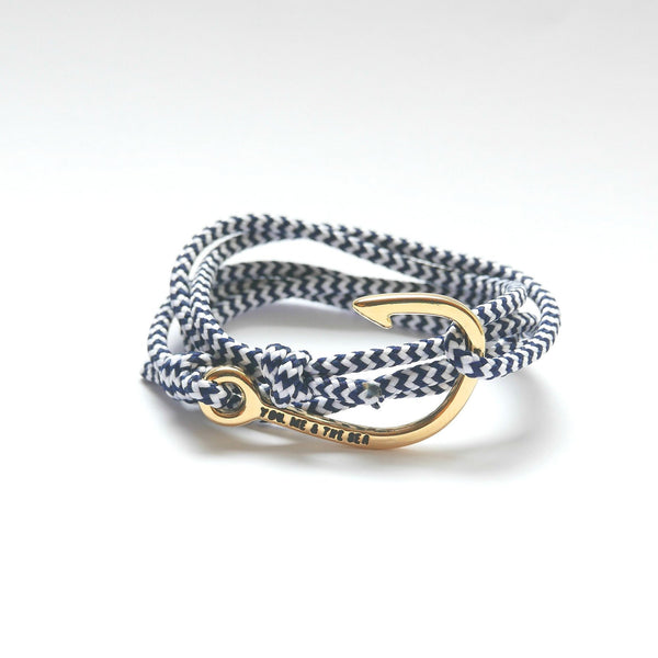 Nautical Rope Bracelet Hook Gold Navy White
