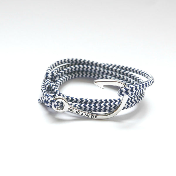Nautical Rope Bracelet Hook chrome Navy White