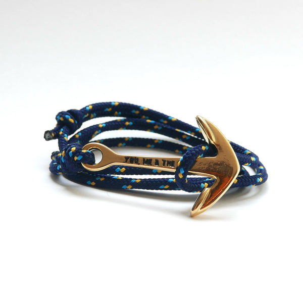 Nautical Rope Bracelet Anchor Gold Navy Ocean Gold