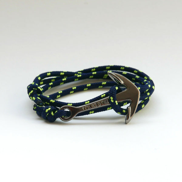 Nautical Rope Bracelet Anchor Black Navy Fluor Yellow