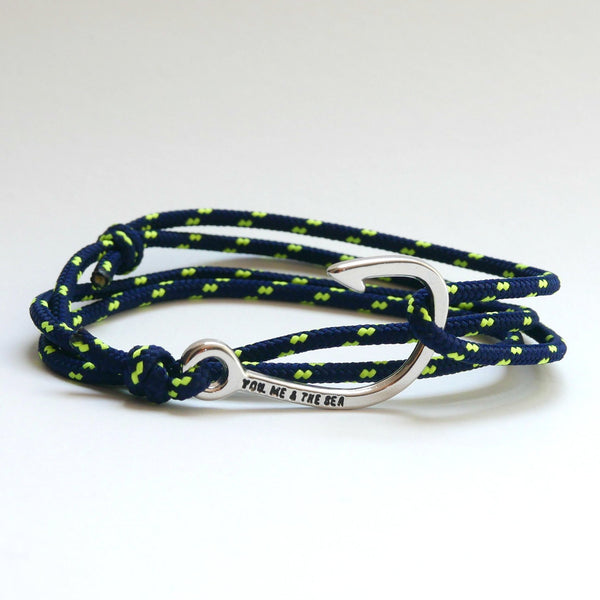 Nautical Rope Bracelet Hook Navy fluro Yellow