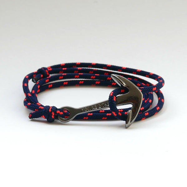 Nautical Rope Bracelet Anchor Black Navy Fluor Coral